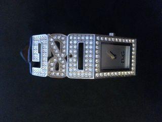 D&g Dolce And Gabbana Time Glitzer Armbanduhr Leder Strasssteine Strass 3atm Bild