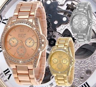 Pure Time® Strass Damenuhr,  Damen Uhr,  Chronograph Optik,  Rose,  Gold,  Silber,  Uhrenbox Bild
