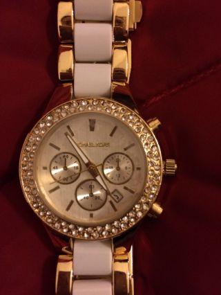 Neue Ungetragene Sehr Elegante Michael Kors Uhr Keramik Gold Glitzer Glamour St Bild