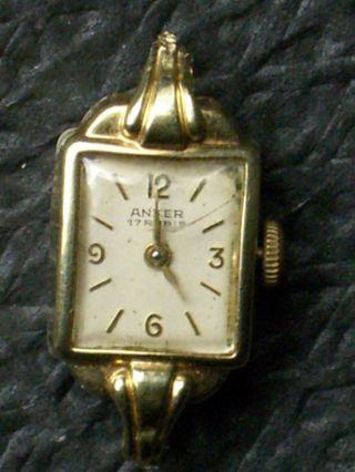 Seltene Anker 585er Gold Handaufzug Dau,  Damenuhr,  Damenarmbanduhr Bild