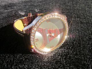 Uhr Armbanduhr Eifelturm Paris Blingbling Braun Gold Blogger Vintage Retro Bild