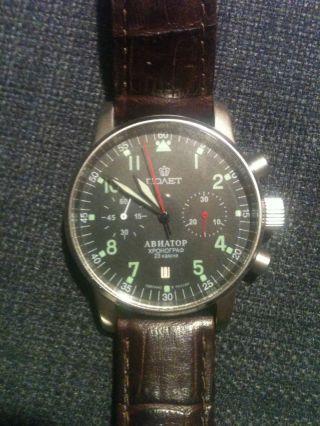 Poljot Aviator Chronograph 3133 Noaet Abnatop Armbanduhr Russian Watch Bild