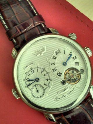 Trias Automatik Uhr Leder Rot Zwei Uhrwerke Bild