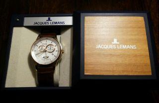 Jacques Lemans 1 - 1447 Mondphase Chronograph Mit Datum Günstig Bild