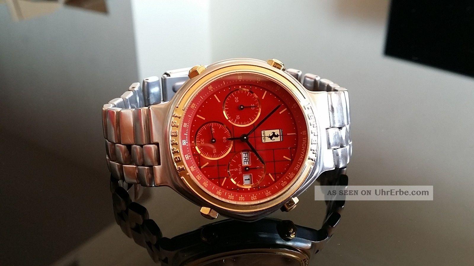 - Ferrari - Ziffernblatt In Rot Mit Goldenen Indexen Armbanduhren Bild