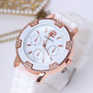 Neue Frauen - Silikon - Band Runden Zifferblatt Strass - Kristall - Quarz - Armbanduhr Bild