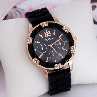Frauen - Silikon - Band Runden Zifferblatt Strass - Kristall - Quarz - Armbanduhr Bild