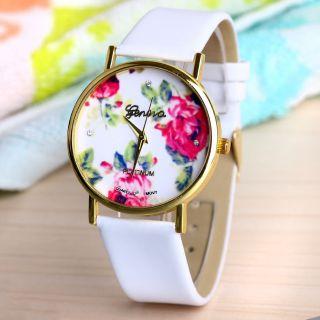 Frauen Genf Blume Gesicht Stil Leatheroid Band Analog Quarz - Armbanduhr Weiß Bild