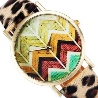 Neue Frauen Leatheroid Band Runden Welle Genf Kleid Quarz - Armbanduhren Leopard Bild