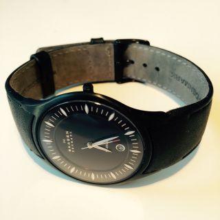 Skagen Denmark Unisex Uhr Armbanduhr Watch Leder Slimline Schwarz Ov Bild