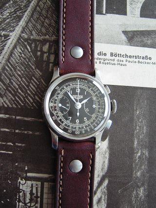 Seltener Heuer Schaltradchronograph / Militär Um 1940,  Edelstahl,  Landeron 13 Bild