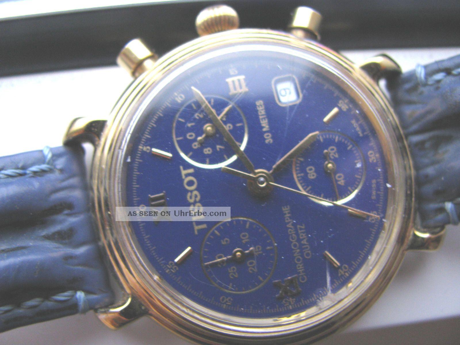 sch ne s 572 tissot chronograph uhr quarz blaues zifferblatt. Black Bedroom Furniture Sets. Home Design Ideas