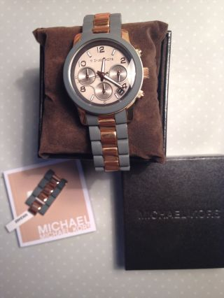 Michael Kors Uhr Armbanduhr Runway Blogger Rosegold Grau Chronograph 335€ Asos Bild