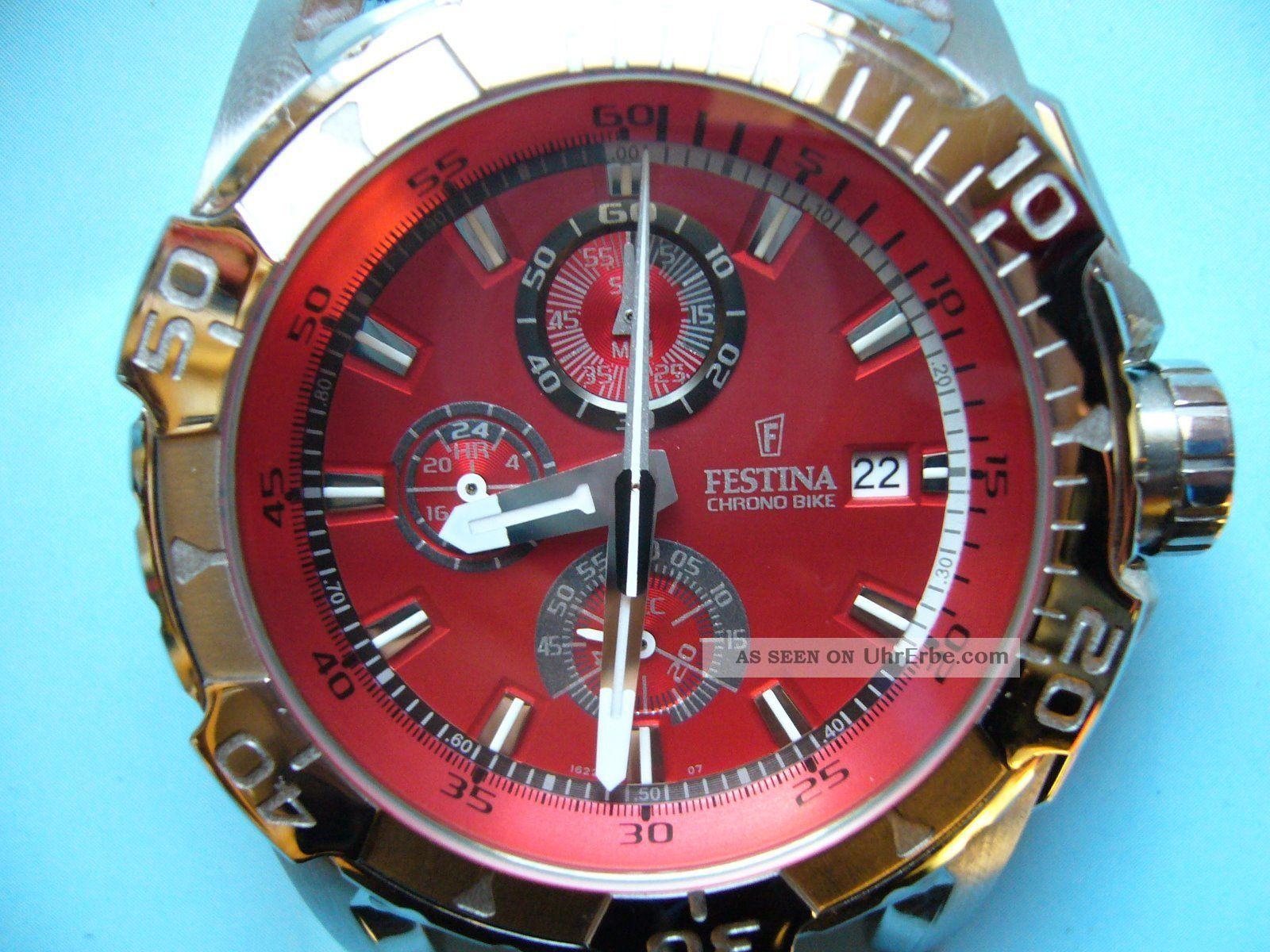 Festina Chrono Bike (tour Chronograph) Rot Fast Neuwertig Armbanduhren Bild