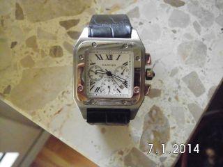 Cartier Santos 100xl Armbanduhr Edelstahl Mit Krokodillederarmband Bild