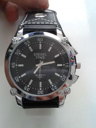 Leder Armband Schwarz Uhr Xl Übergröß Leuchtzeiger Übergröß Restposten Bild