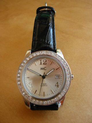 Top Schöne Uhr Mc Kristalllünette Schwarzes Armband 2 X Getragen Bild