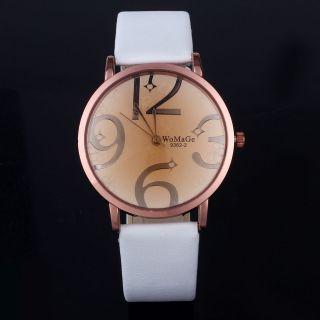 Neue Moderne Frauen Weiß Pu - Leder - Band Vier Zahlen Lässige Hot Armbanduhr Bild
