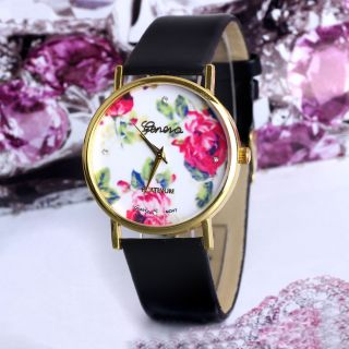Frauen - Art - Blumen Genf Dial Kunstleder Band Schwarz Analog Quarz - Armbanduhr Bild