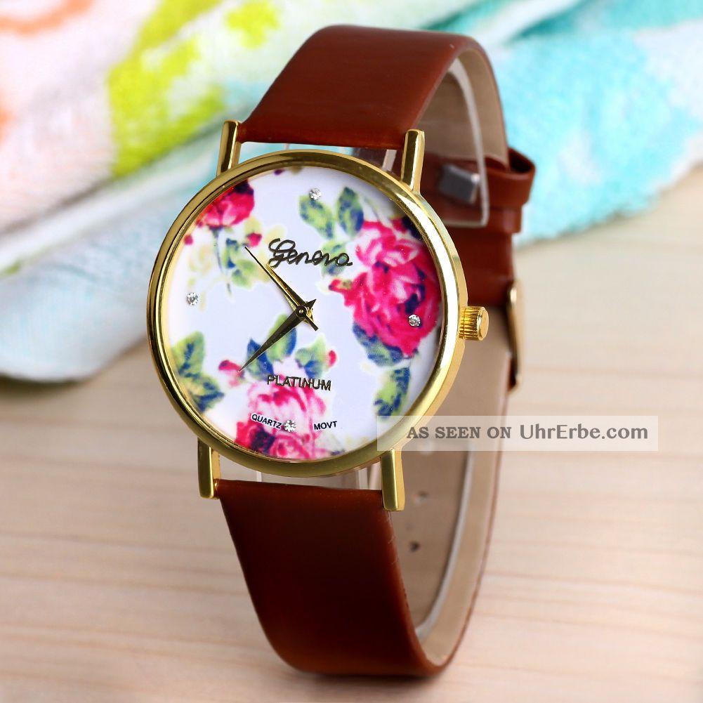 Frauen Blume Dial Brown Genf Stil Kunstleder Band Analog Quarz - Armbanduhr Armbanduhren Bild