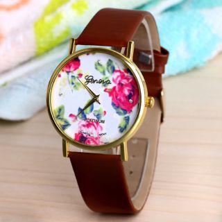 Frauen Blume Dial Brown Genf Stil Kunstleder Band Analog Quarz - Armbanduhr Bild