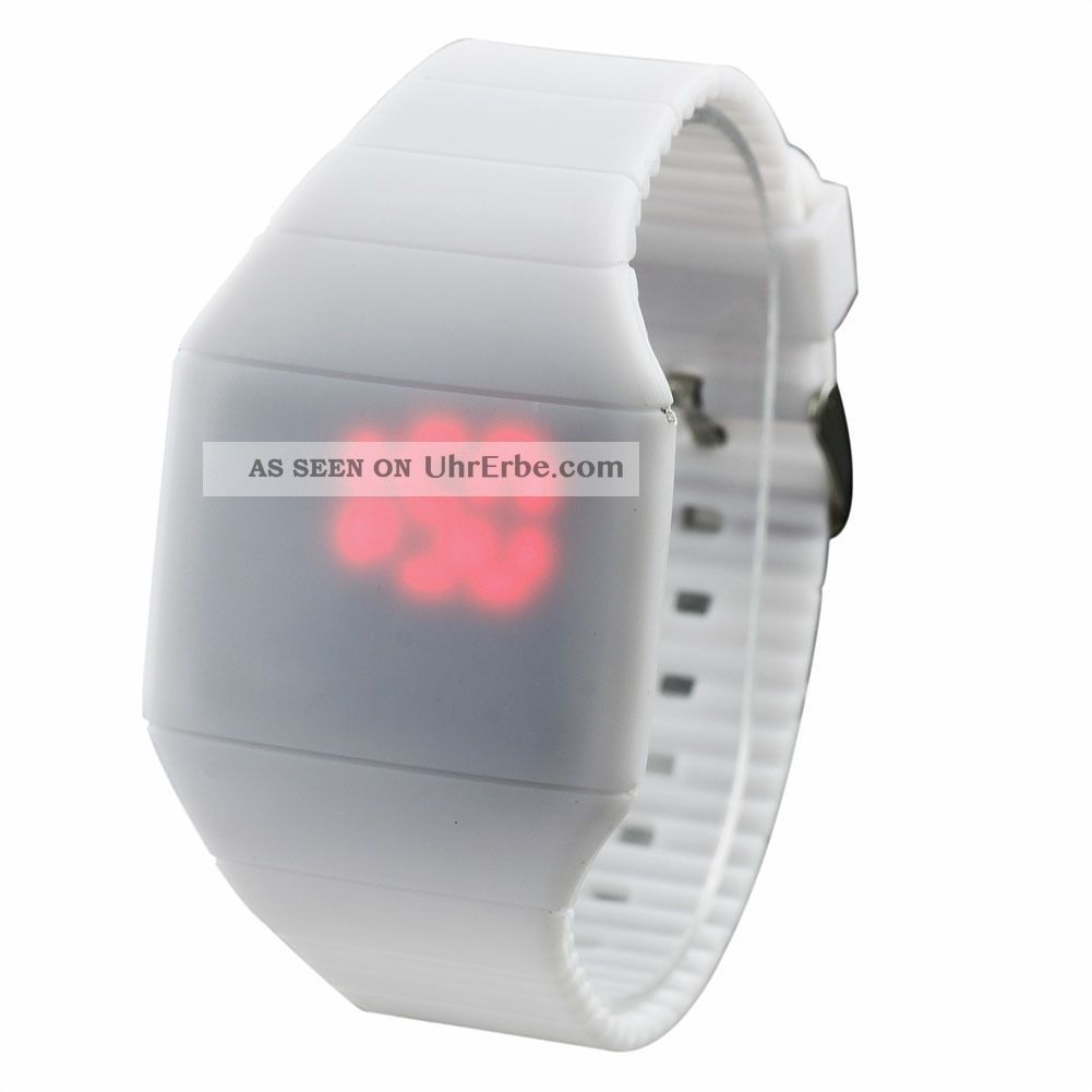 Fashion Coole Männer Luxus Weiß Dial Black Rubber Strap Sport - Armbanduhr Armbanduhren Bild