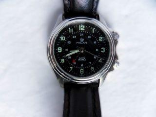 Poljot Russische Armbanduhr,  Handaufzug,  Wecker,  Alarm,  Schwarz,  Uhr,  Russisch Bild
