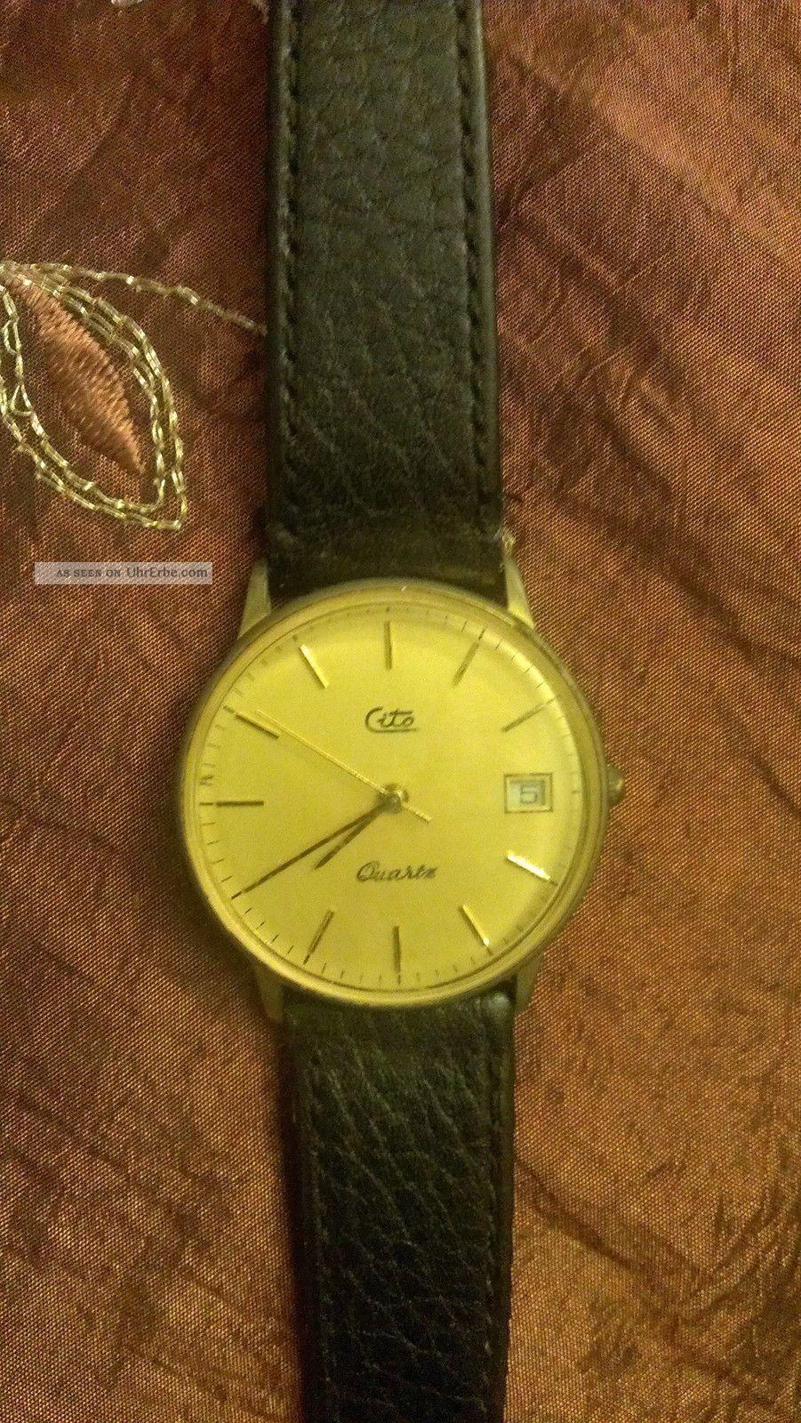 Cito Armbanduhr - Goldenes Zifferblatt - Braunes Armband Mit Datum Armbanduhren Bild