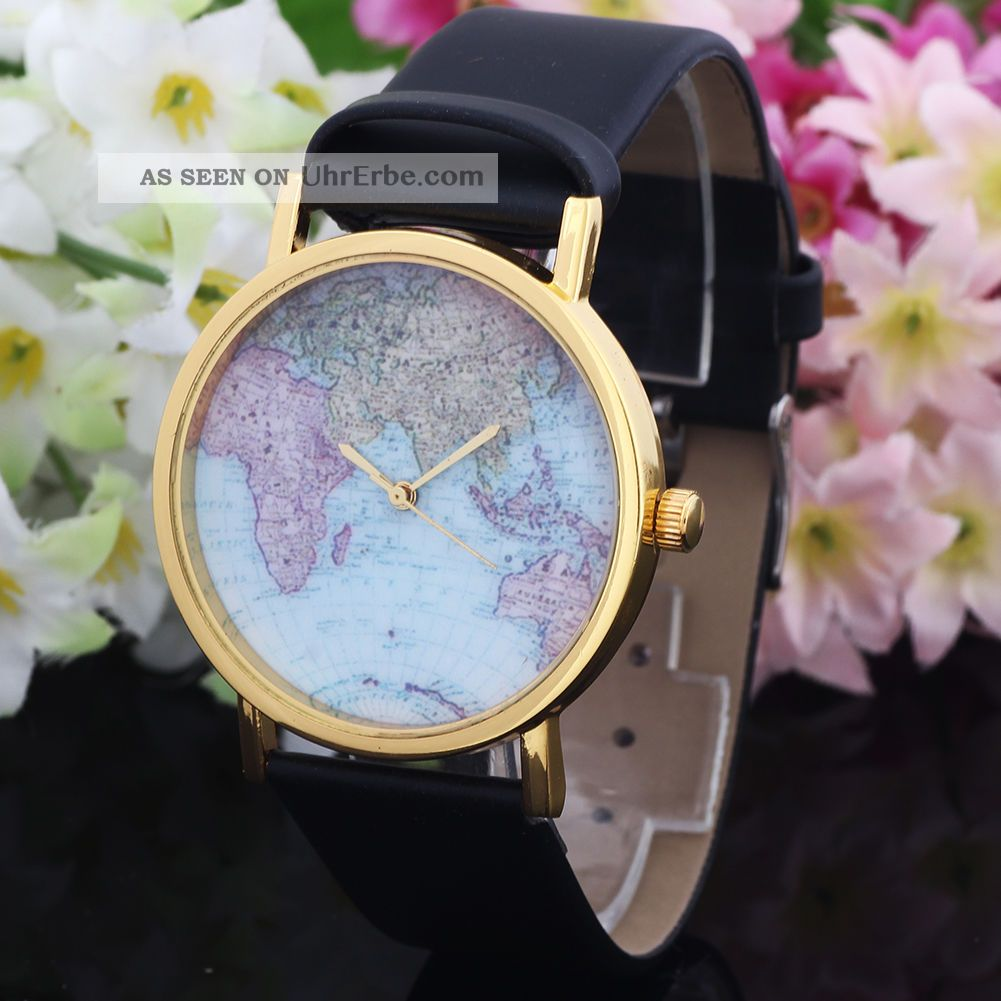 Lässige Mode Sport Karte Drucken Schwarz Kunstlederband Armbanduhr Armbanduhren Bild
