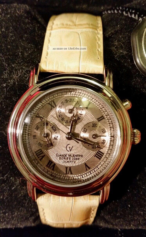 Neue Uhr Von Claude Valentini Chronograph Mit Seriennummer,  Schachtel Armbanduhren Bild