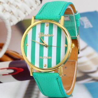 Unisex Grün Klassische Genfer Streifen Kunstleder Analog Quarz Armbanduhren Bild
