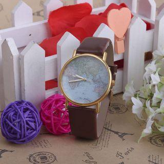 Neue Genfer Lässige Blumen - Drucken - Weiß - Leder - Quarz - Armbanduhren Bild