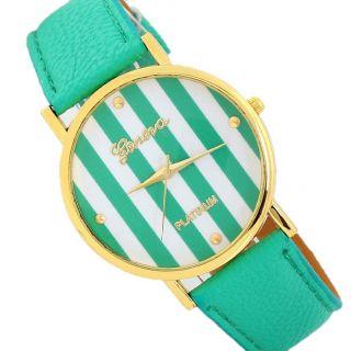Frauen Leatheroid Klassische Genfer Streifen Print Analog Quarz - Armbanduhr Grün Bild