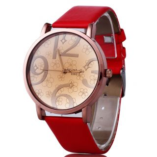 Modern Women Red Pu Leather Band Four Numbers Casual Wristwatch Hot Bild