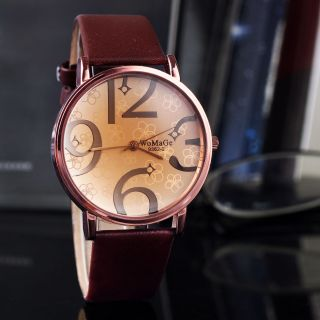 Modern Casual Pu - Leder - Band - Frauen Vier Zahlen Brown Armbanduhr Hot Bild