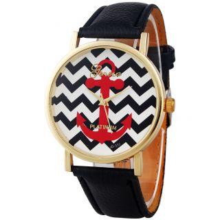 Frauen Männer Genfer Streifen Drucken Leatheroid Band Analog Quarz - Armbanduhr Bild