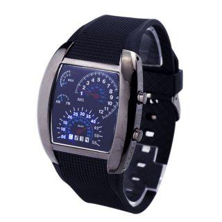Männer Sport Rpm Turbo Flash - Led - Auto - Messinstrument Zifferblatt Armbanduhr - Gesc Bild