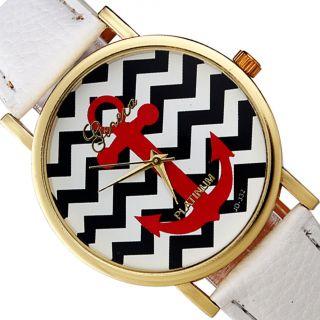 Frauen Genfer Streifen Drucken Leatheroid Band Analog Quarz - Armbanduhr Bild