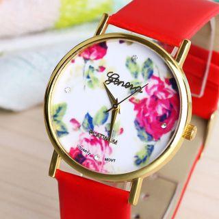 Frauen Genf Blume Gesicht Stil Leatheroid Band Analog Quarz - Armbanduhr Rot Bild
