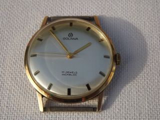 Herrenarmbanduhr Golana Handaufzug Gold 585 14 Kt - Vintage - Sammleruhr Bild