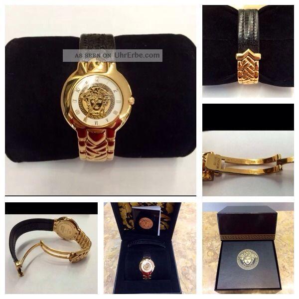 Exklusive Massiv 18kt Versace Armbanduhr Mit 750gg Und Leder Armband,  Box/papiere Armbanduhren Bild