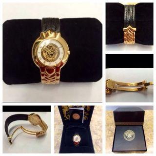 Exklusive Massiv 18kt Versace Armbanduhr Mit 750gg Und Leder Armband,  Box/papiere Bild