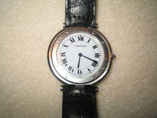 Cartier Uhr Santos Stahl Mit Lederarmband Bild