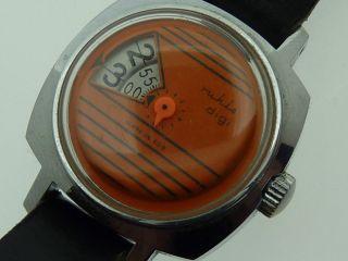 Ruhla Digi Handaufzug Digitalanzeige Oranges Zifferblatt LÄuft Einwandfrei Bild