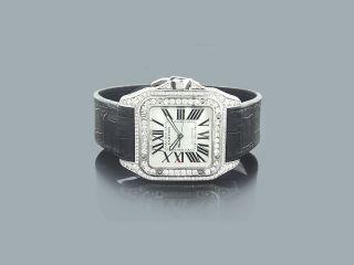 Cartier Santos Mit Lederarmband Und Diamanten Herrenuhr Brillanten Bild