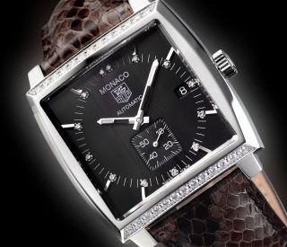 Tag Heuer Monaco Diamanten Herrenuhr Ww2118.  Fc6216 Pythonlederband Uvp 5.  200 Bild