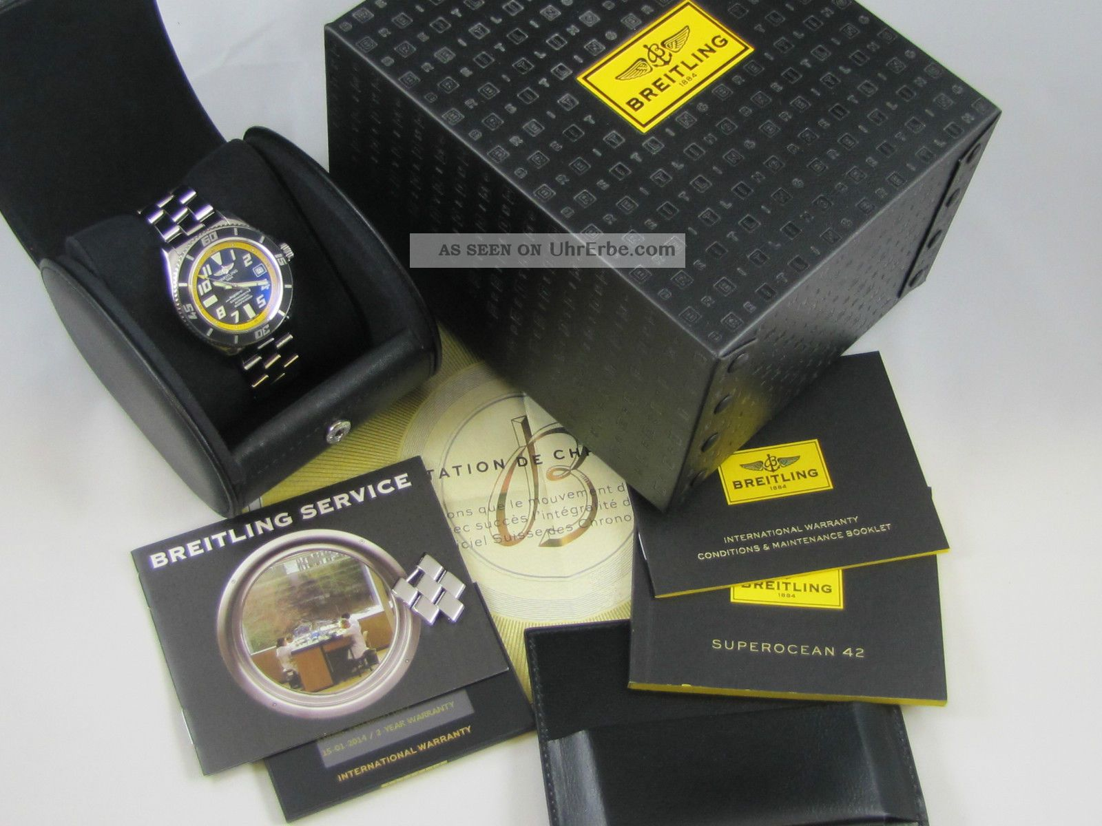 Breitling Superocean 42 (abyss Yellow) Fullset Box,  Papiere Armbanduhren Bild