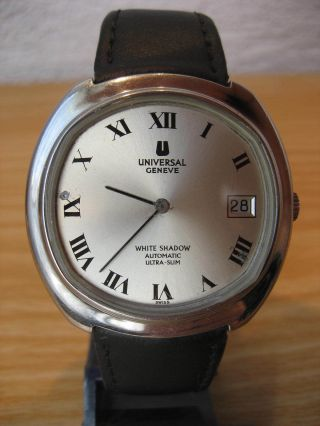 Universal Geneve White Shadow Automatic Ultra Slim,  Date,  Stahl,  Top Rarität Bild