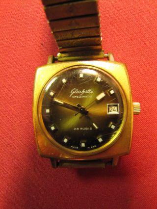 Glashütte Spezimatic Bison Automatic Uhr Goldplaqe Mit Datum Bild