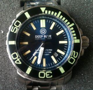 Deep Blue Daynight T - 100 Ops Pro Taucheruhr Tritium,  Saphirglas Fast,  Ovp Bild